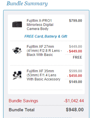 <span style='color:#dd1313;'>Hot Deal: Fujifilm X-Pro1 with 35mm and 27mm Lenses Kit for $948</span>