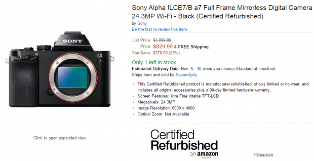 Hot Deal: Refurbished Sony A7 for $829, A7R for $999