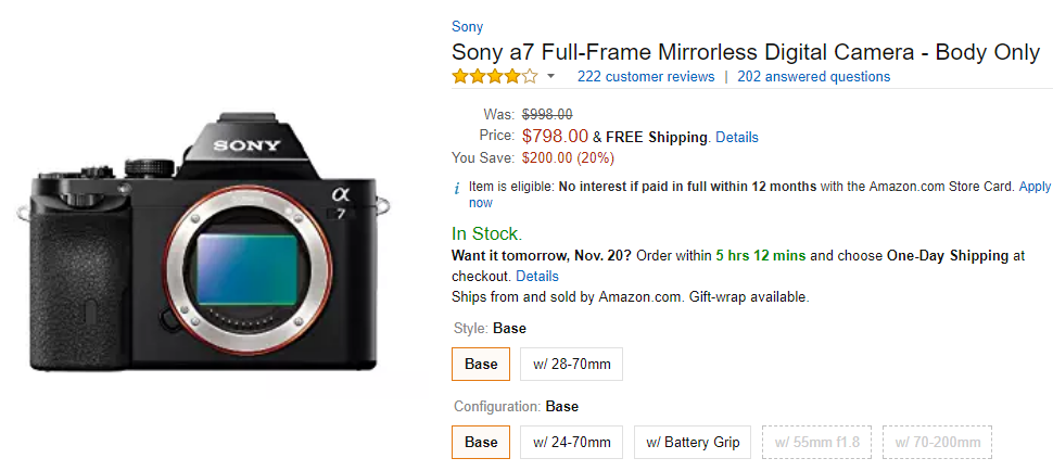<span style='color:#dd3333;'>Hot Black Friday Deals: Sony A6000 for $498 and Sony A7 for $798</span>