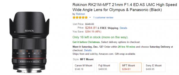 Rokinon 21mm F1.4 AU ED MFT lens deal