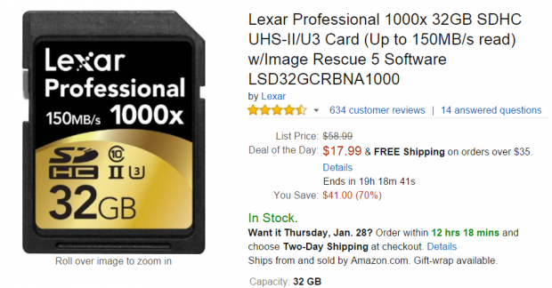 <span style='color:#dd3333;'>Hot Deal: Lexar Professional SDXC UHS-II/U3 32GB Card for $17</span>