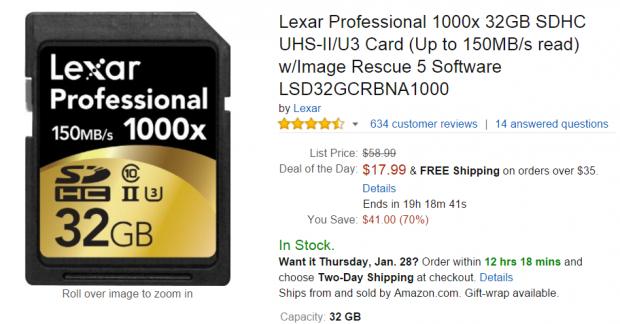 Lexar 1000x 32GB for $17.99