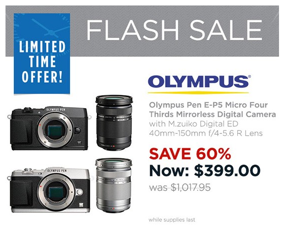 <span style='color:#dd3333;'>Hot Deal: Olympus Pen E-P5 W/40-150mm F4-5.6 Lens for $399</span>