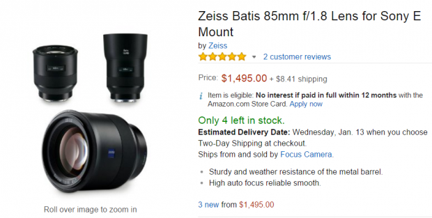 Zeiss Batis 85mm f1.8 lens in stock