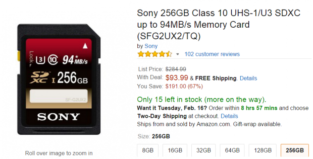 <span style='color:#dd3333;'>Hot Deal: Sony 256GB Class 10 UHS-1/U3 SDXC Memory Card for $93</span>