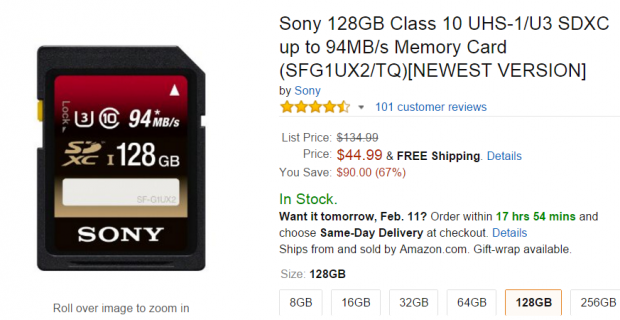 <span style='color:#dd3333;'>Hot Deal: Sony 128GB Class 10 UHS-1/U3 SDXC Memory Card for $44</span>