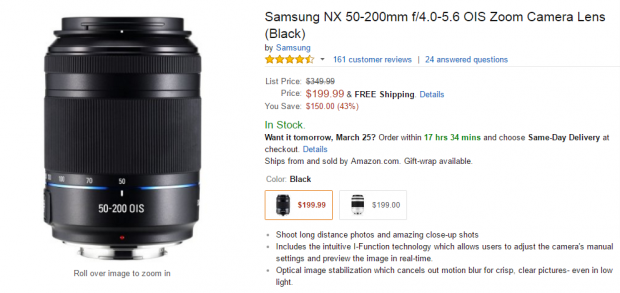 Hot Deal: Samsung NX 50-200mm f/4.0-5.6 OIS Zoom Lens for $199