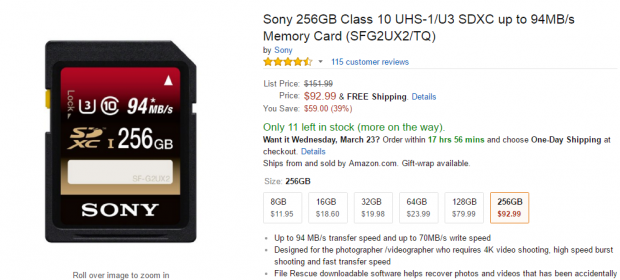 <span style='color:#dd3333;'>Hot Deal: Sony 256GB Class 10 UHS-1/U3 SDXC Memory Card for $92.99</span>