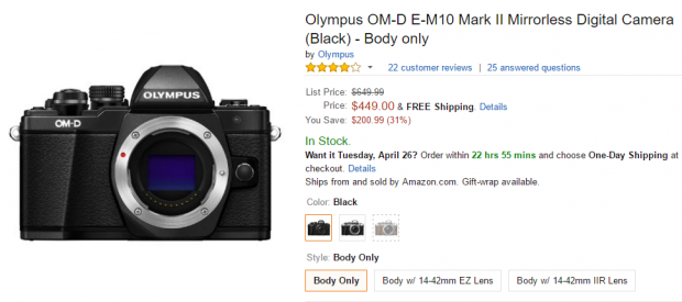 Olympus E-M10 II deal at Amazon