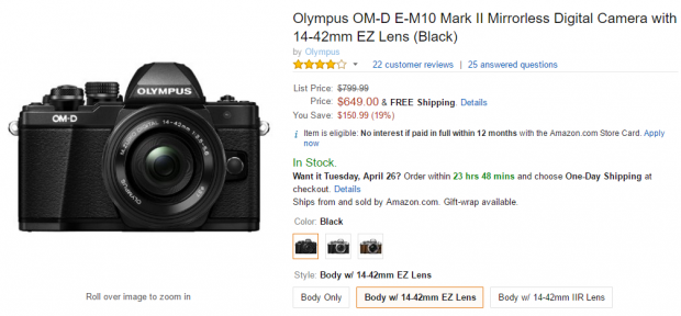Olympus E-M10 II deal with lens EZ at Amazon