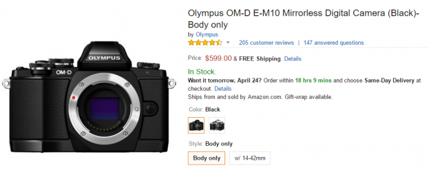 Olympus E-M10 body at amazon