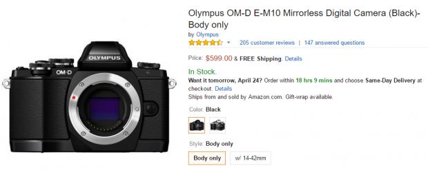 Olympus E-M10 body at amazon