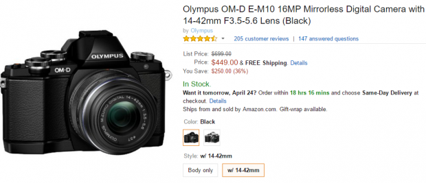 Olympus E-M10 with lens kit at amazon