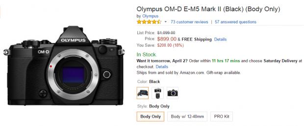 Olympus OM-D E-M5 Mark II at amazon