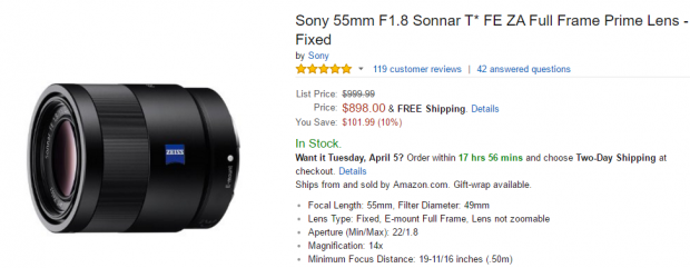 Sony 55mm F1.8 T lens at amazon