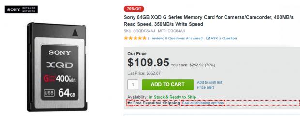 Sony 64GB XQD deal