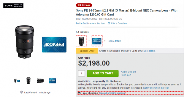 Sony FE 24-70mm GM lens deal