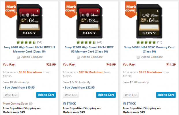 Sony SD Card deals at B&H