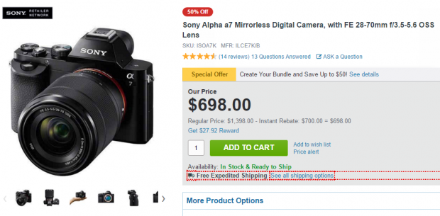 Sony a7 with lens kit deal at adorama
