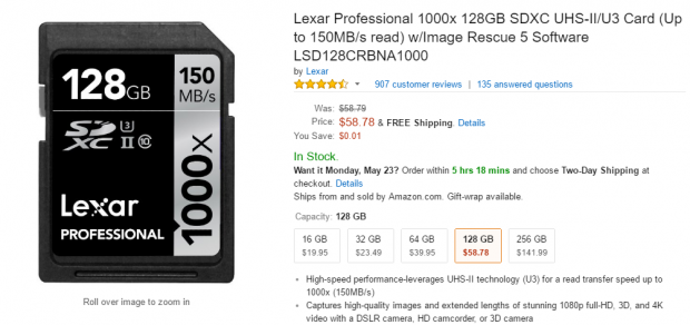 Lexar professional SDXC 128GB deal