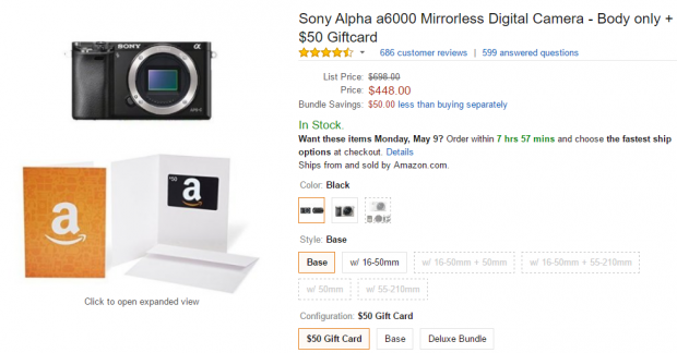 Sony A600 deal at amazon