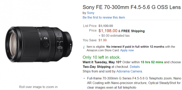 Sony FE 70-300mm F4.5-5.6 lens in stock