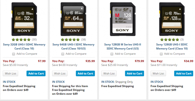 Sony SD card deals
