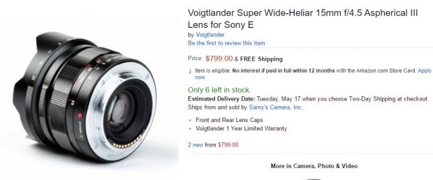 Voigtlander 15mm F4.5 AsPH III lens for Sony E in stock