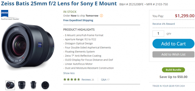 Zeiss Batis 25mm lens in stock