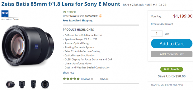 Zeiss Batis 85mm lens in stock