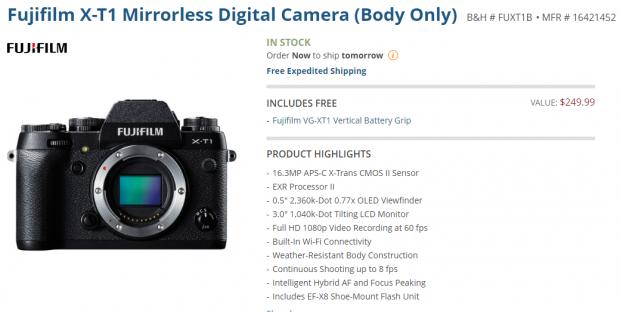 Fujifilm X-T1 deal at B&H