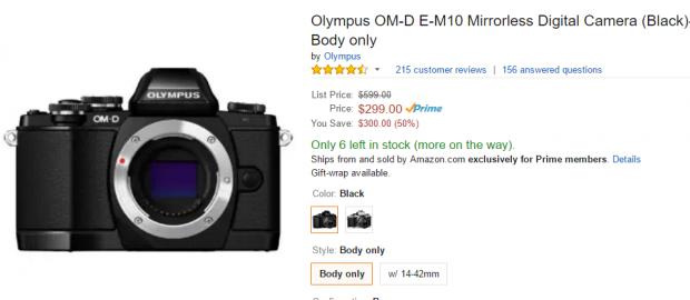 Olympus E-M10 deal