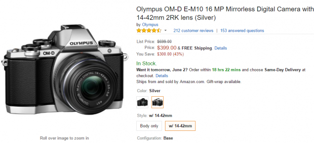Olympus E-M10 with lens kit deal