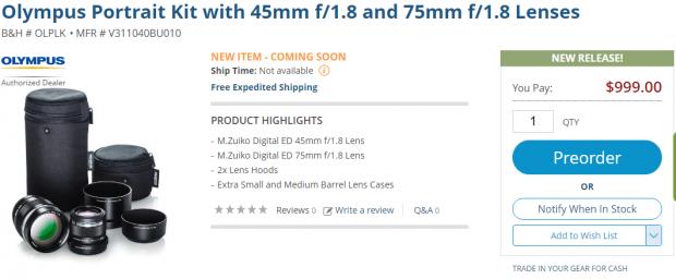 Olympus Portrait Kit lens deal