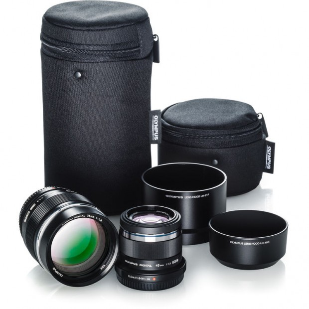 Olympus portrait kit with 75 and 45mm lenses