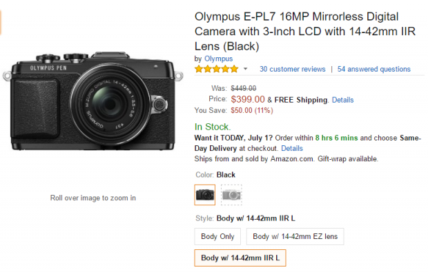 Olympus E-PL7 with 14-42mm II R lens deal