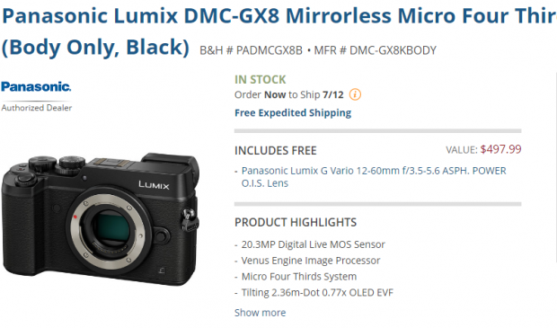 Panasonic GX8 deal