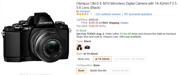 Olympus E-M10 with kit lens deal