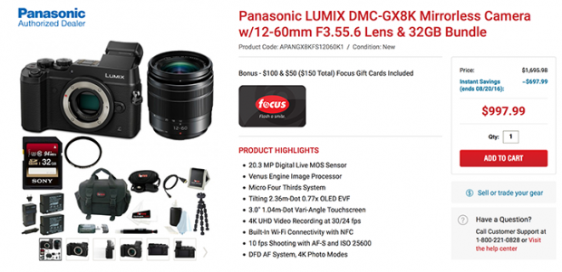 <span style='color:#dd3333;'>Hot Deal: $698 Extras for Free with Panasonic GX8 at FocusCamera</span>