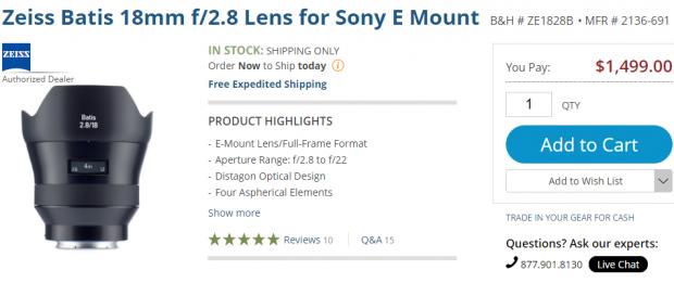 Zeiss Batis 18mm lens in stock
