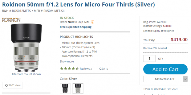 rokinon 50mm F1.2 MFT lens deal