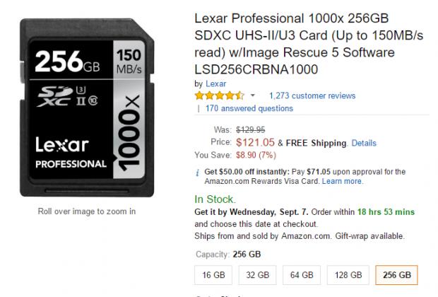 Lexar professional 1000X 256GB deal