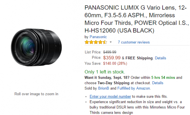 <span style='color:#dd3333;'>Hot Deal: Panasonic Lumix G Vario 12-60mm f/3.5-5.6 ASPH for $359.99 at Amazon</span>