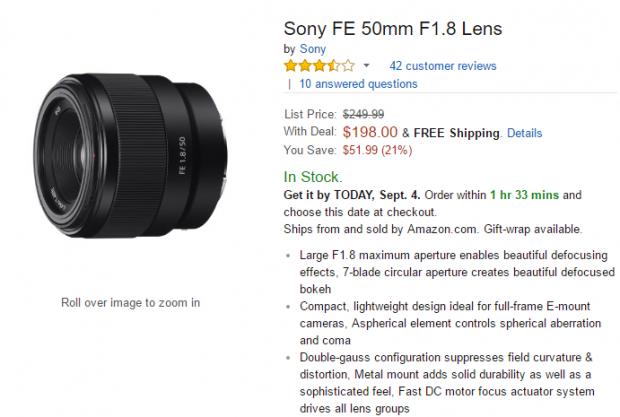 Sony FE 50mm F1.8 lens deal