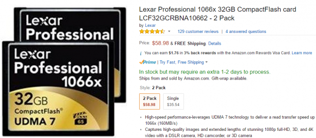 Hot Deals: Lexar Professional 1066x 32GB CompactFlash card 2 Pack for $58.98 at Amazon