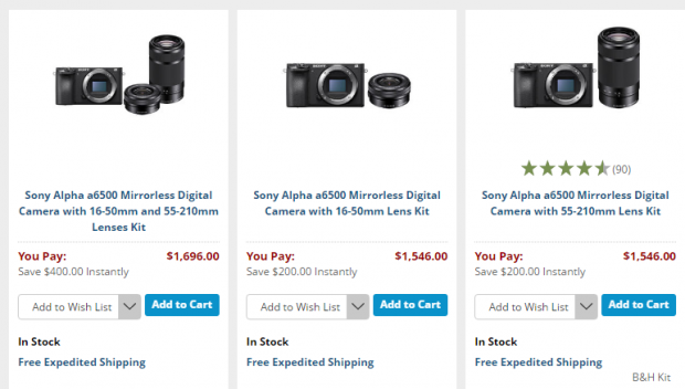 <span style='color:#dd3333;'>Hot Deals: Up to $400 Off on Sony A6500 Bundle at B&H</span>