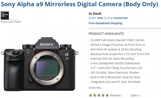 Sony a9 in stock