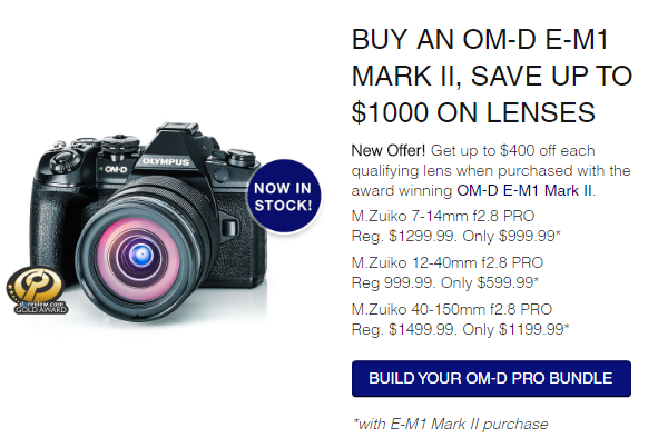 Hot Deals: Up to $1,000 off on Olympus E-M1 II With Lenses Bundle