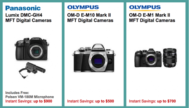 <span style='color:#dd3333;'>Hot Deals: Up to $900 off on Panasonic GH4 Bundle and Up to $700 off on Olympus E-M1 II Bundle</span>
