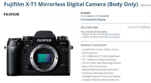Fujifilm x-t1 deal
